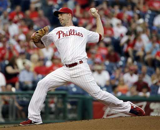 Philadelphia Phillies' Cliff Lee pitches in the first inning of a baseball game against the Washington Nationals, Wednesday, July 10, 2013, in Philadelphia. (AP Photo/Matt Slocum)