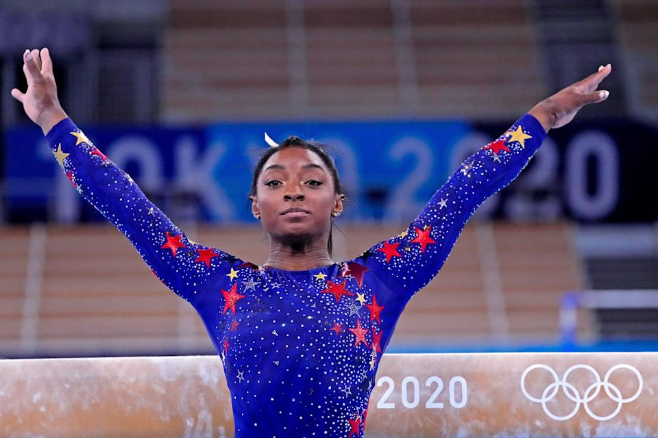 Jul 25, 2021; Tokyo, Japan; Simone Biles (USA) competes on the balance beam in the womens gymnastics qualifications during the Tokyo 2020 Olympic Summer Games at Ariake Gymnastics Centre. Mandatory Credit: Robert Deutsch-USA TODAY Network