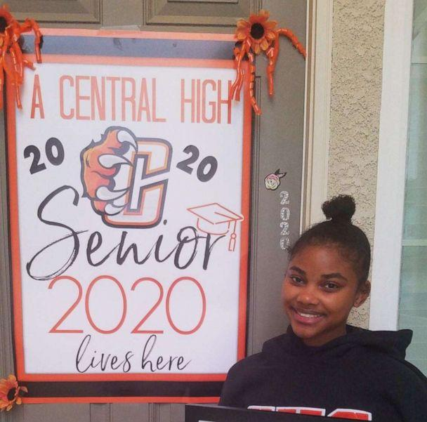 PHOTO: Keiana Parrish stands in front of her California home after her senior year of high school was postponed due to the novel coronavirus outbreak. (Parrish Family)