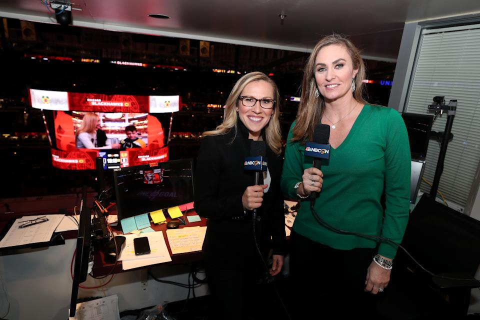 Broadcaster Kate Scott and analyst Olympic gold medalist AJ Mleczko