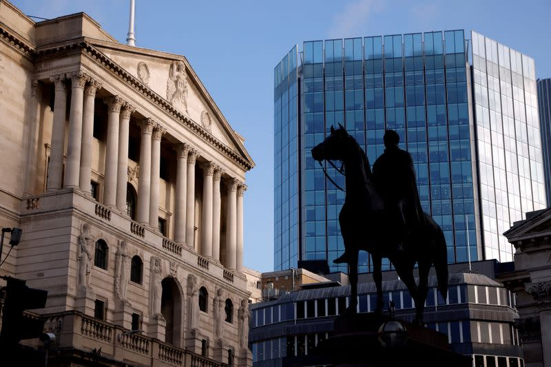 FILE PHOTO: A general view of the Bank of England in the City of London financial district