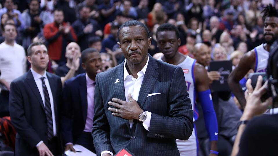 TORONTO, ON - NOVEMBER 14:  Head Coach Dwane Casey of the Detroit Pistons acknowledges the crowd during an NBA game against the Toronto Raptors at Scotiabank Arena on November 14, 2018 in Toronto, Canada.  NOTE TO USER: User expressly acknowledges and agrees that, by downloading and or using this photograph, User is consenting to the terms and conditions of the Getty Images License Agreement.  (Photo by Vaughn Ridley/Getty Images)