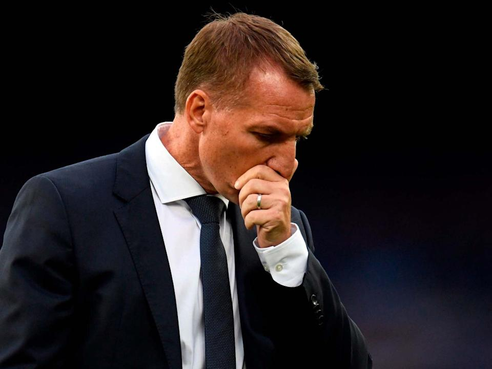Brendan Rodgers contemplates Leicester's defeat at Everton: Getty Images