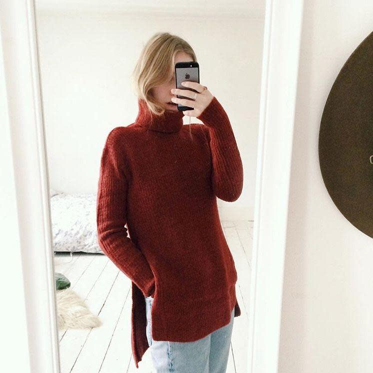 """<p><strong>All Tucked In</strong></p><p>If your roots are looking buoyant and bouncy but your ends a little lank, there's nothing more chic than tucking your hair into your top. The turtleneck hair tuck is very Phoebe Philo (the Creative Director of Céline) and is a look all of our favourite street style stars have sported. See Fashion Editor <a href=""""https://www.instagram.com/tilfrances/"""" rel=""""nofollow noopener"""" target=""""_blank"""" data-ylk=""""slk:Frances Davison"""" class=""""link rapid-noclick-resp"""">Frances Davison</a> 's recent Instagram for further reference.</p><span class=""""copyright"""">Photo: via @tilfrances.</span>"""