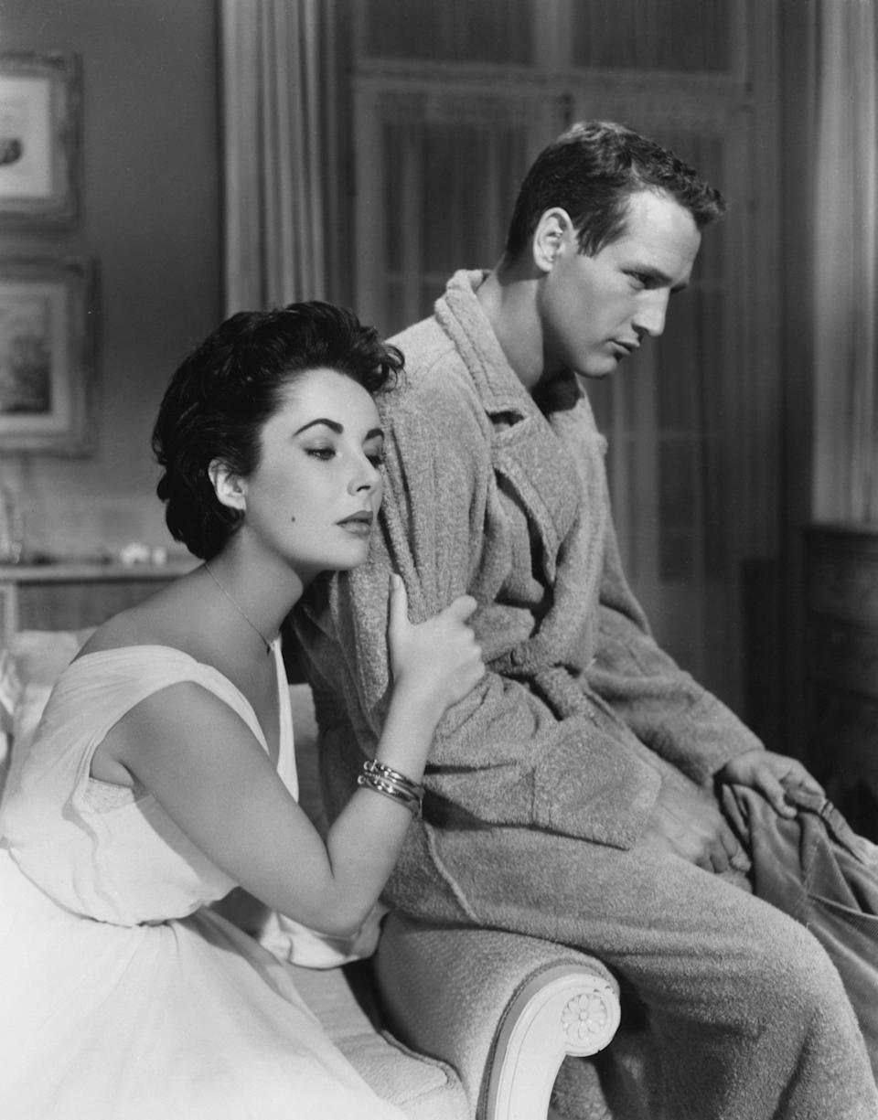 Elizabeth Taylor and Paul Newman in Cat on a Hot Tin Roof, 1958.