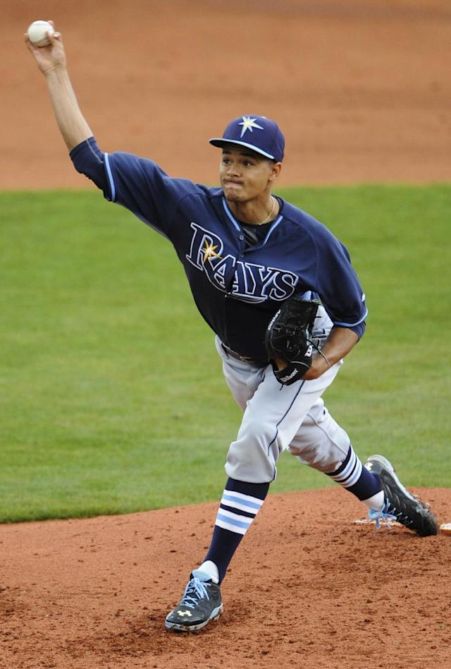 Tampa Bay Rays pitcher Chris Archer starts against the Montgomery Biscuits during an exhibition baseball game in Montgomery, Ala., on Saturday, March 29, 2014. (AP Photo/Montgomery Advertiser, Mickey Welsh)