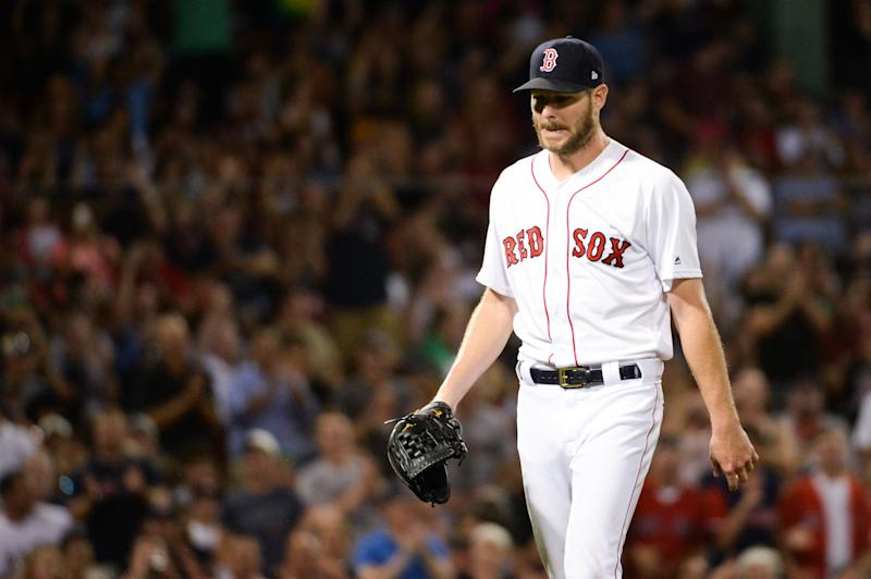 BOSTON, MA - AUGUST 8: Chris Sale #41 of the Boston Red Sox leaves the game after pitching eight shutout innings against the Los Angeles Angels of Anaheim at Fenway Park on August 8, 2019 in Boston, Massachusetts. (Photo by Kathryn Riley/Getty Images)