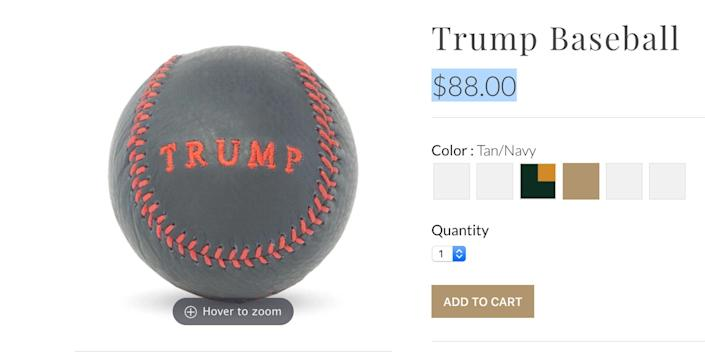 A baseball being sold on the Trump Organization's website is listed at $88. The number has been used as a stand-in for Heil Hitler, or HH, because H is the eighth letter in the alphabet.