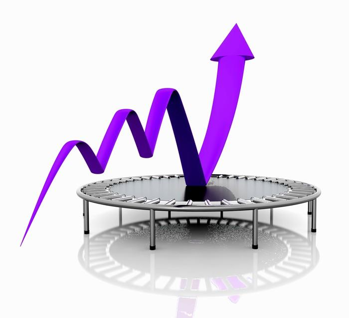 A purple charting arrow bouncing upward on a trampoline.