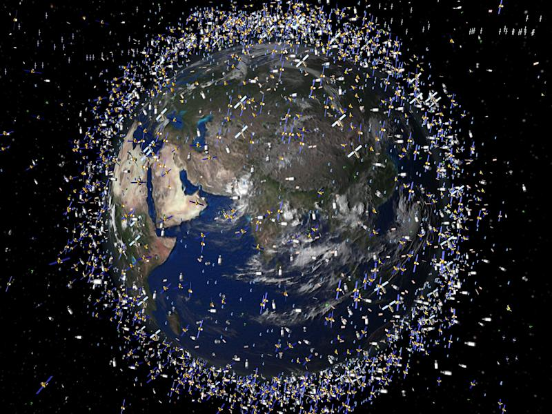 An artist's impression of the space debris in the Earth's orbit: European Space Agency/REX Features