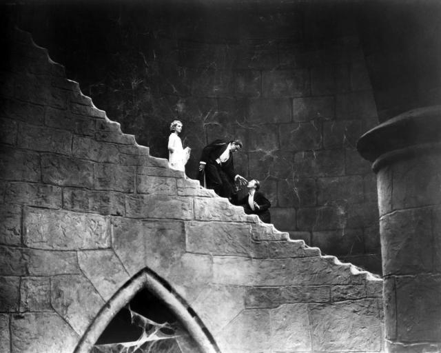Left to right: Helen Chandler (1906 - 1965) as Mina, Bela Lugosi (1882 - 1956) as the vampire Count Dracula and Dwight Frye (1899 - 1943) as Renfield in 'Dracula', directed by Tod Browning, 1931. (Photo by Silver Screen Collection/Getty Images)