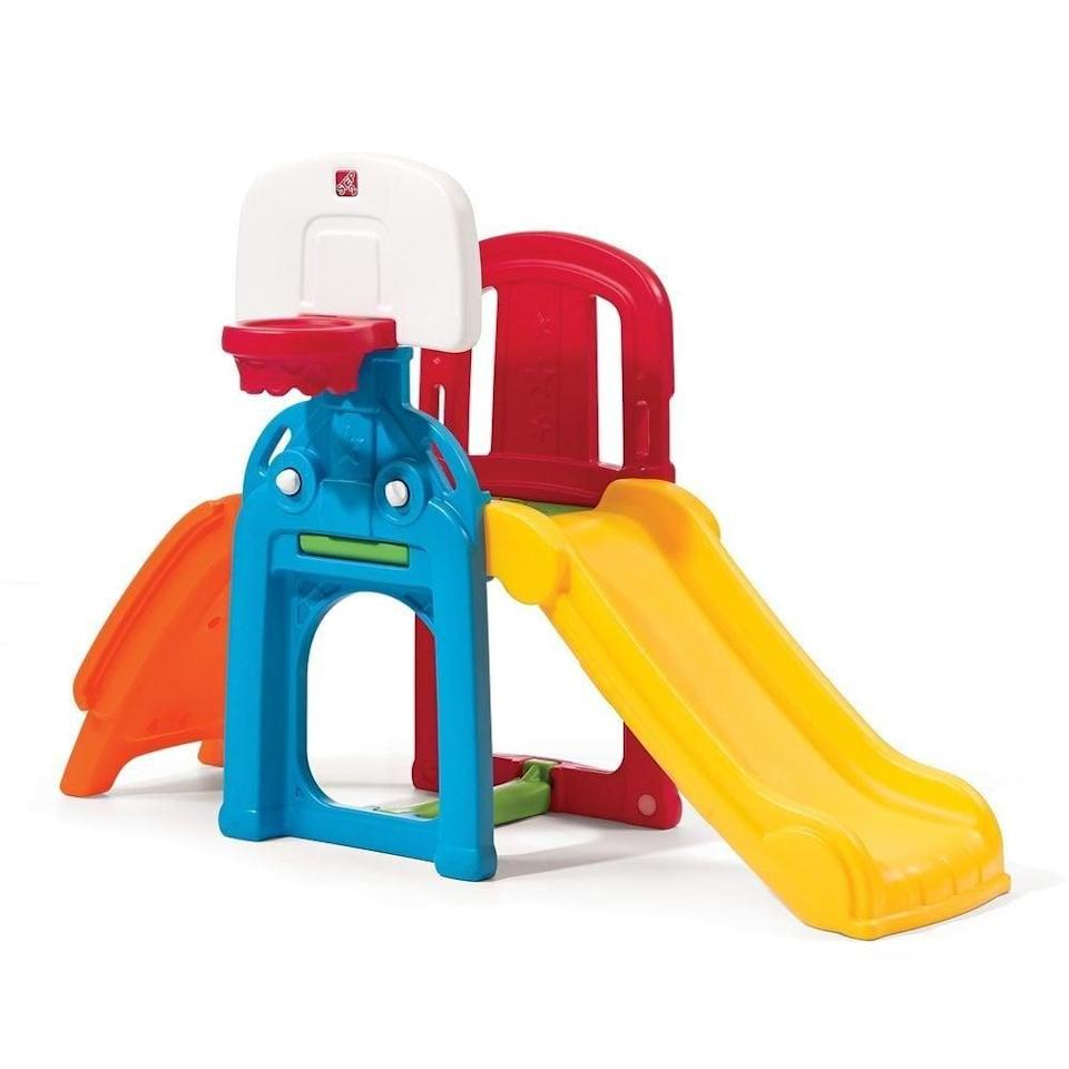 "<p>This <a href=""https://www.popsugar.com/buy/Step2-Game-Time-Sports-Climber-Slide-328739?p_name=Step2%20Game%20Time%20Sports%20Climber%20And%20Slide&retailer=amazon.com&pid=328739&price=100&evar1=moms%3Aus&evar9=25800161&evar98=https%3A%2F%2Fwww.popsugar.com%2Fphoto-gallery%2F25800161%2Fimage%2F44870132%2FStep2-Game-Time-Sports-Climber-Slide&list1=gifts%2Choliday%2Cgift%20guide%2Cparenting%2Ckid%20shopping%2Choliday%20for%20kids%2Cgifts%20for%20toddlers%2Cbest%20of%202019&prop13=api&pdata=1"" class=""link rapid-noclick-resp"" rel=""nofollow noopener"" target=""_blank"" data-ylk=""slk:Step2 Game Time Sports Climber And Slide"">Step2 Game Time Sports Climber And Slide</a> ($100) has everything. A basketball hoop, climbing station, and slide will ensure a very happy child.</p>"