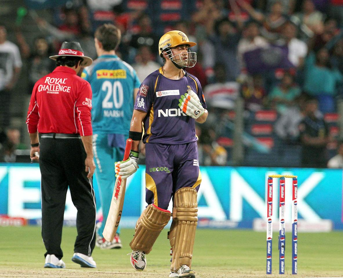 Kolkata Knight Riders captain Gautam Gambhir looks up after scoring a fifty during match 56 of the Pepsi Indian Premier League ( IPL) 2013  between The Pune Warriors India and the Kolkata Knight Riders held at the Subrata Roy Sahara Stadium, Pune on the 9th May 2013. (BCCI)