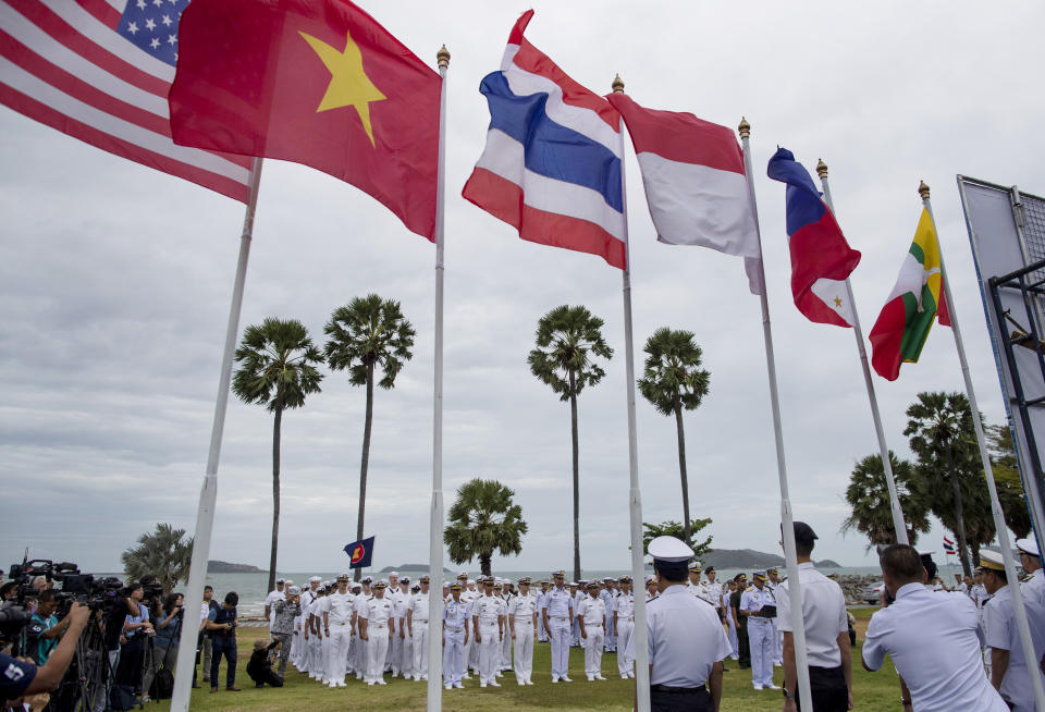 Navy officers from the US and Asean countries participate in the inauguration ceremony of ASEAN-US Maritime Exercise in Sattahip, Thailand, on 2 September 2019. (Photo: AP)