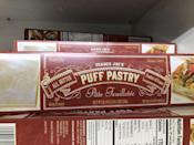 <p>All butter puff pastry is the simplest thing to keep in your freezer for easier desserts, apps, whatever! Wrap a puff pastry around it, I will eat it. </p>