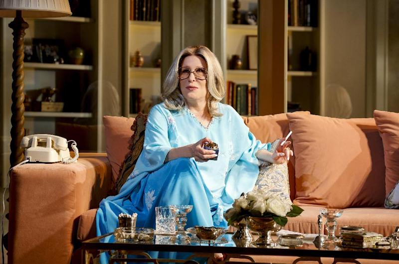 "This theater image released by Boneau/Bryan-Brown shows Better Midler as Hollywood agent Sue Mengers in ""I'll Eat You Last: A Chat with Sue Mengers,"" at the Booth Theatre in New York. (AP Photo/ Boneau/Bryan-Brown, Richard Termine)"