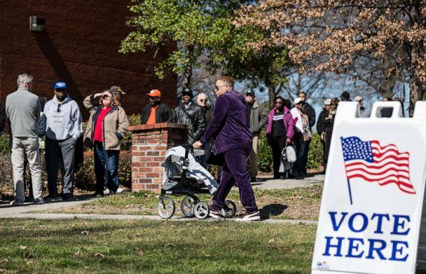 PHOTO: People stand in line for early voting at the Richland County Election Commission, Feb. 27, 2020 in Columbia, S.C. (Sean Rayford/Getty Images)