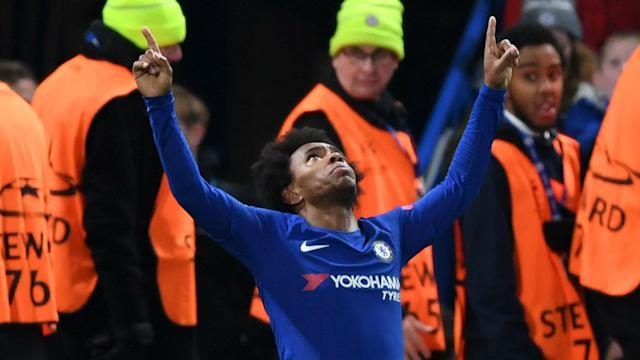 Chelsea's Brazilian forward was among the goals again in a meeting with Barcelona, with his his ability from distance showcased at Stamford Bridge