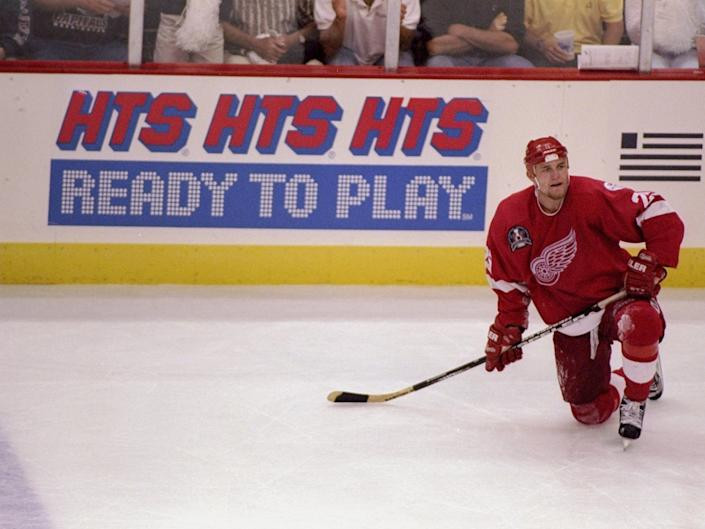 13 Jun 1998: Darren McCarty of the Detroit Red Wings in action during the Stanley Cup Finals game against the Washington Capitals at the MCI Center in Washington, D. C.. The Red Wings defeated the Capitals 2-1.