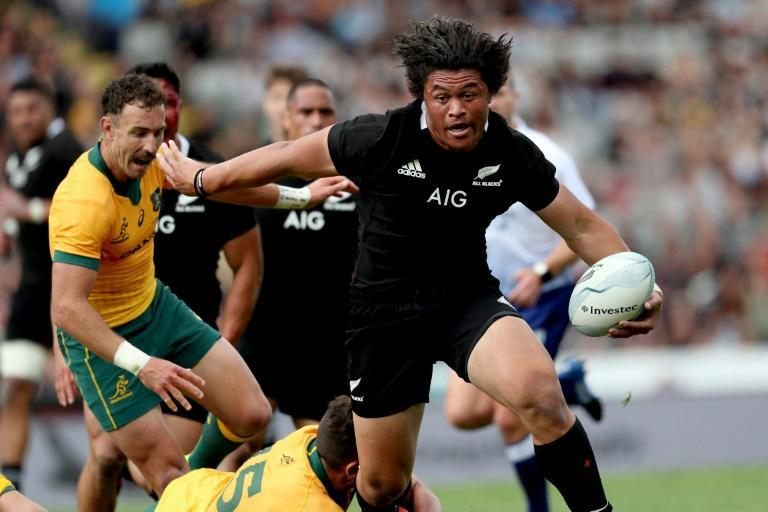 Caleb Clarke (right), whose barnstorming runs have drawn comparison to the legendary Jonah Lomu, has announced he will chase Olympic gold with the New Zealand rugby sevens team at the Tokyo Games