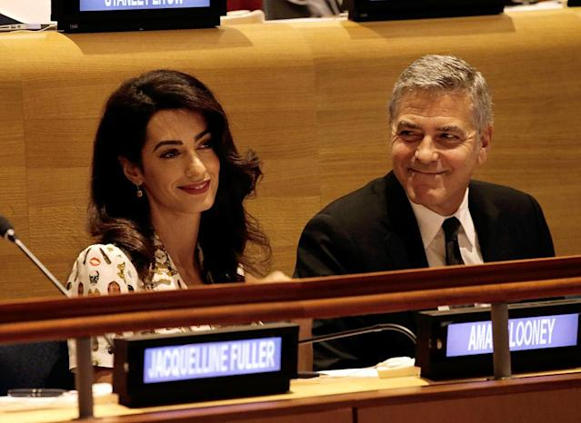 George Clooney and wife Amal Clooney attend a United Nations assembly on September 20, 2016 in New York, New York. (Photo: Peter Foley – Pool/Getty Images)