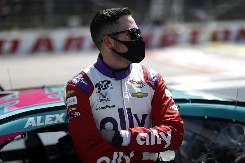 DARLINGTON, SOUTH CAROLINA - MAY 09: Alex Bowman, driver of the #48 Ally Throwback Chevrolet, waits on the grid prior to the NASCAR Cup Series Goodyear 400 at Darlington Raceway on May 09, 2021 in Darlington, South Carolina. (Photo by Chris Graythen/Getty Images)   Getty Images