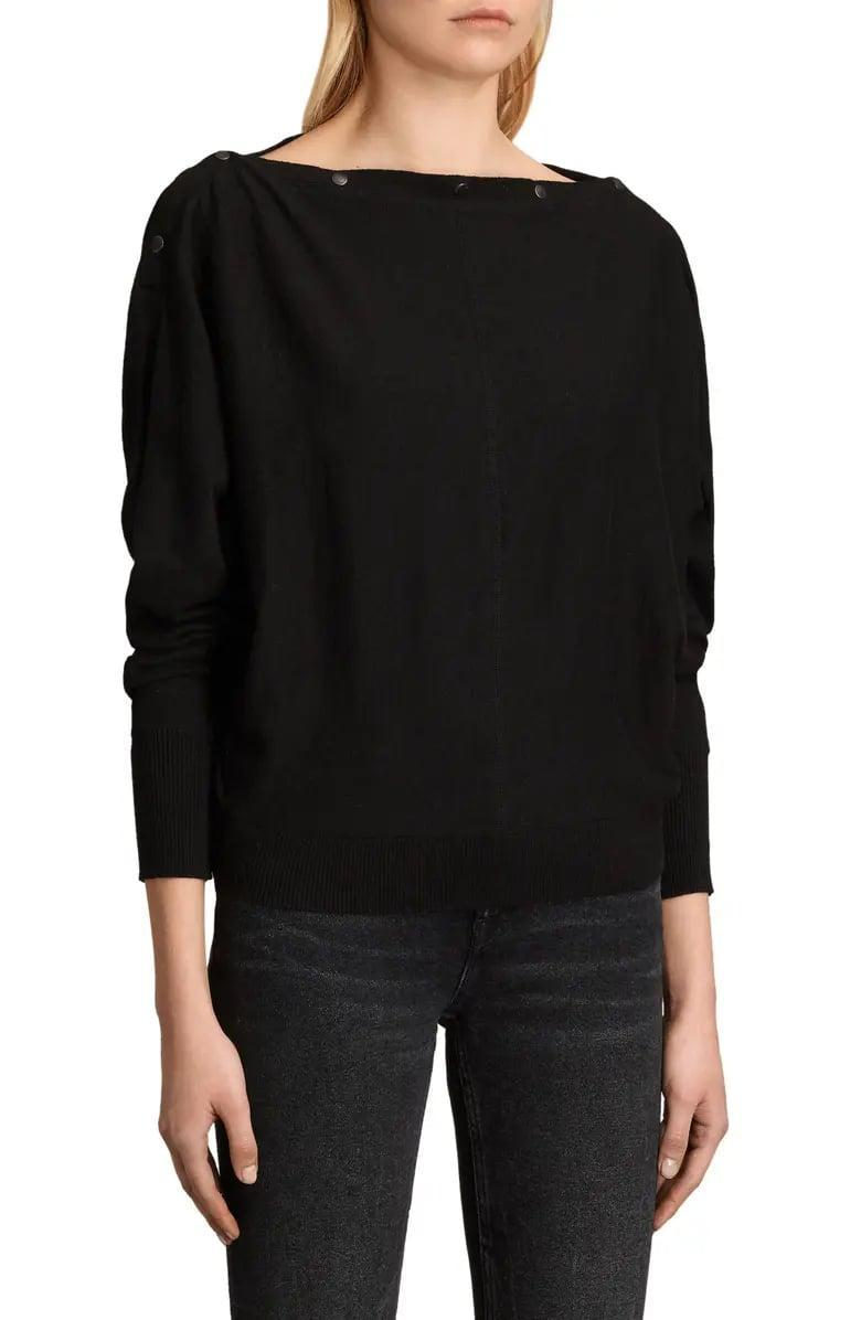 <p>The snaps on this <span>Allsaints Elle Sweater</span> ($135) mean you can adjust the neckline however you wish from up high to an off-the-shoulder style instead. </p>