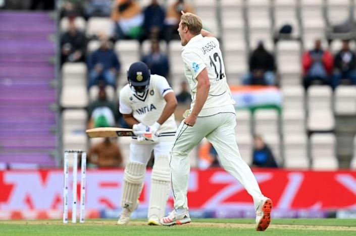 New Zealand's Kyle Jamieson celebrates his dismissal of India's Rohit Sharma in the World Test Championship final at Southampton on Saturday