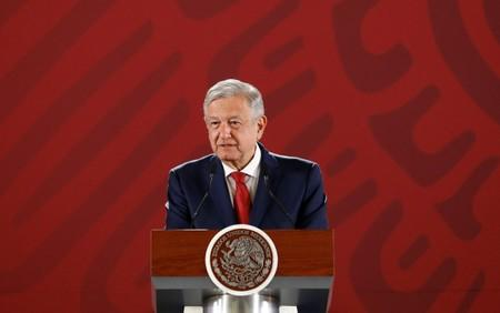 Mexico's President Andres Manuel Lopez Obrador attends a news conference at the National Palace in Mexico City
