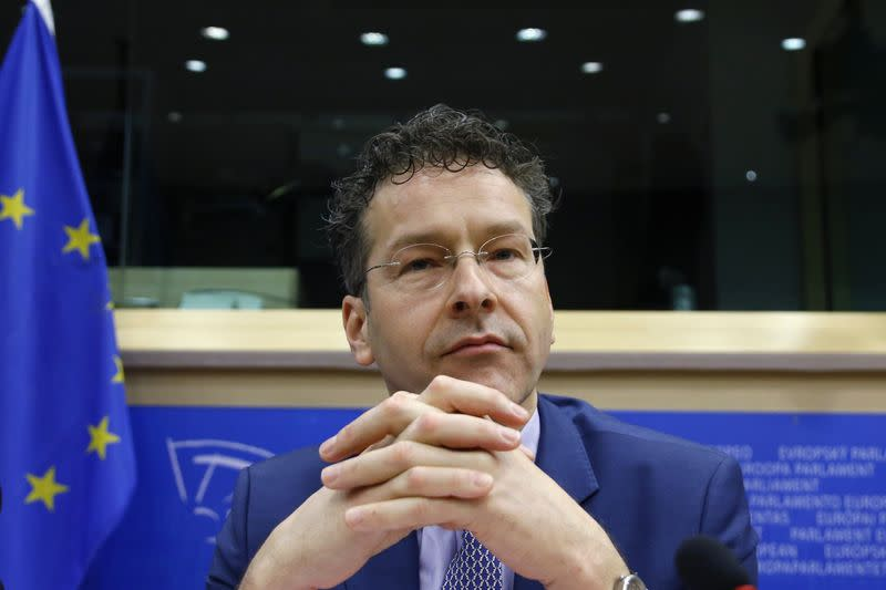 Eurogroup chairman Dijsselbloem waits to testify before the EU Parliament's Economic and Monetary Affairs Committee in Brussels