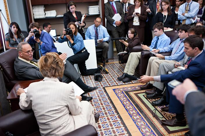 WASHINGTON - SEPTEMBER 15:  U.S. Sen. Charles Schumer (D-NY) (L) and U.S. Sen. Barbara Boxer (D-CA) (2nd L) talk with reporters on Capitol Hill regarding attempts to avert a shutdown of the Federal Aviation Administration on September 15, 2011 in Washington, DC. Sen. Tom Coburn (R-OK) is obstructing efforts to pass a temporary funding extension for the agency over what he sees as wasteful spending. (Photo by Brendan Hoffman/Getty Images)