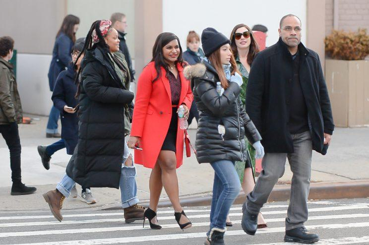 Mindy Kaling and Rihanna on the set of Ocean's Eight. (Photo: Raymond Hall/GC Images)