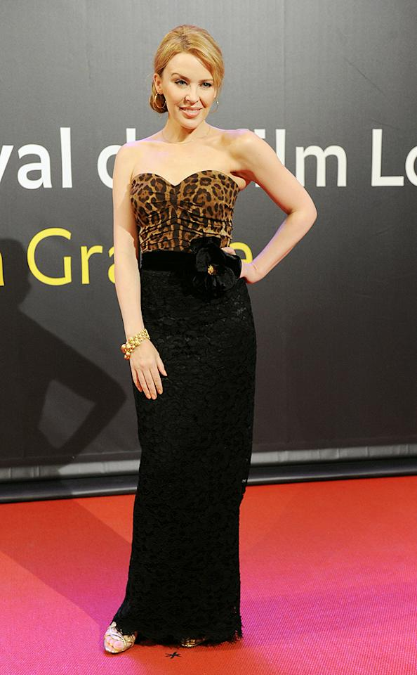 "Loyal Dolce & Gabbana wearer <a target=""_blank"" href=""http://music.yahoo.com/kylie-minogue/"">Kylie Minogue</a> rocked the you-know-what out of this strapless, black lace and animal print gown at the 65th Locarno Film Festival in Switzerland last weekend. The pint-sized dance diva accessorized with a side bun, gold hoop earrings, and statement bracelet. (8/3/2012)<br><br><a target=""_blank"" href=""http://omg.yahoo.com/blogs/jam/"">Jam: spotlight on music stars</a><br><br>"