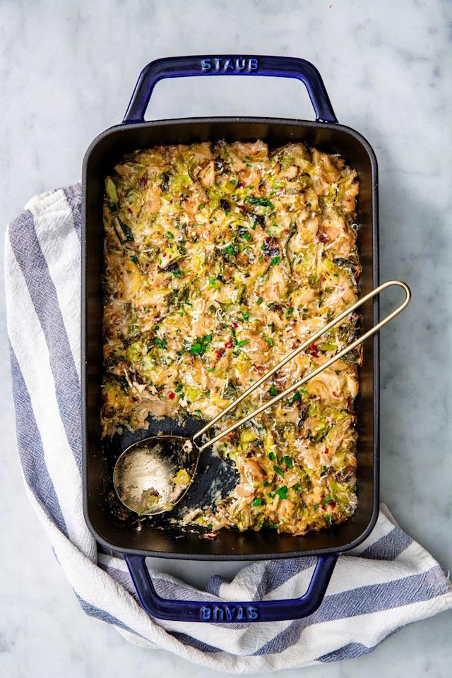 """<p>This side is seriously addictive.</p><p>Get the recipe from <a rel=""""nofollow"""" href=""""https://www.delish.com/cooking/recipe-ideas/a22813603/creamed-brussels-sprouts-recipe/"""">Delish.</a></p>"""