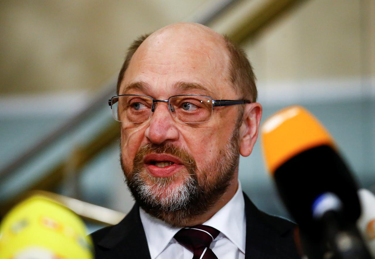 Martin Schulz, Germany's Social Democratic Party (SPD) leader, gives a statement as he meets with local SPD members in Dortmund, Germany, January 15, 2018. REUTERS/Wolfgang Rattay