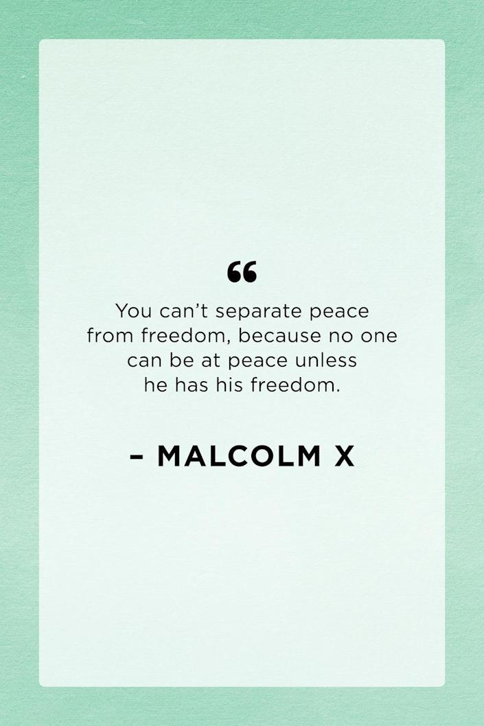 """<p>Malcolm X often articulated concepts of race pride and Black nationalism back in the 1960s. This powerful quote stems from his """"Prospects for Freedom"""" speech he gave on January 7, 1965.</p>"""