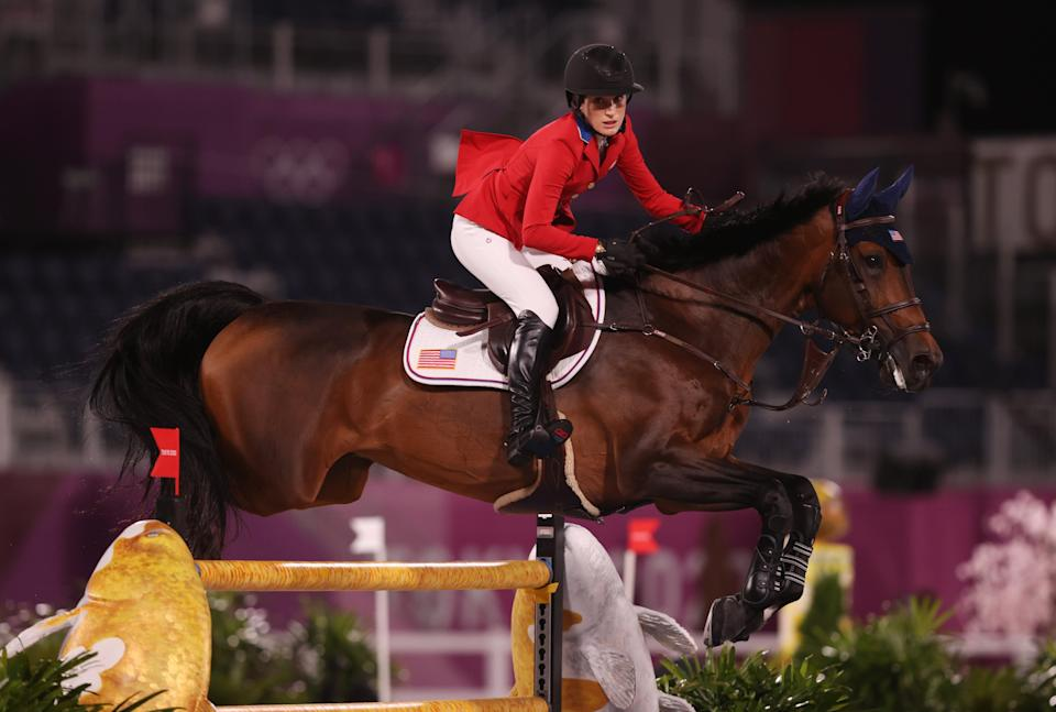 Jessica Springsteen of Team United States riding Don Juan Van De Donkhoeve competes during the Jumping Individual Qualifier on day eleven of the Tokyo 2020 Olympic Games at Equestrian Park on August 03, 2021 in Tokyo, Japan. (Getty Images)