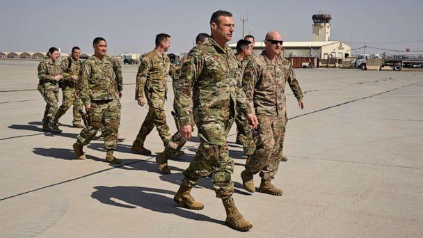 PHOTO: U.S. Air Force Lt. Gen. Joseph T. Guastella, Jr., Commander, U.S. Air Forces Central Command and Combined Forces Air Component Commander, is greeted at Kandahar Airfield, Afghanistan  during a visit   on Feb. 24, 2020.  (Senior Master Sgt. Joshua Demott/U.S. Air Forces Central Command )