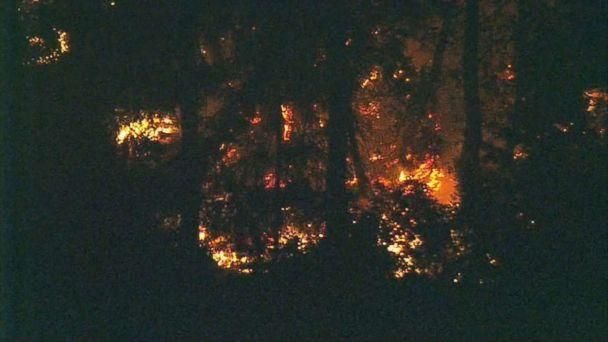 Flames could be seen on Ketron Island, Washington, where the stolen plane crashed late Friday, Aug. 10, 2018. (KOMO)