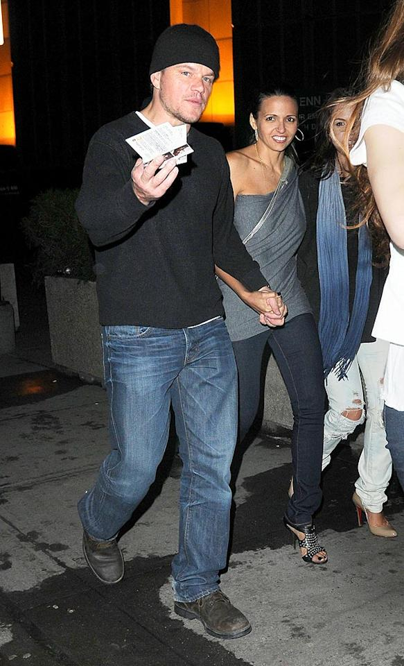 "In the crowd? More than a few famous faces, including sexy Oscar nominee Matt Damon and his wife, Luciana Barroso, outfitted in a trendy one-shoulder top. Asadorian-Mejia/<a href=""http://www.splashnewsonline.com"" target=""new"">Splash News</a> - February 24, 2010"