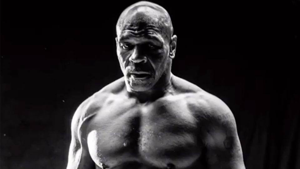 Mike Tyson (pictured) posing ahead of his exhibition boxing fight.