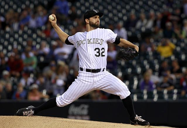 Colorado Rockies starting pitcher Tyler Chatwood works against the St. Louis Cardinals in the first inning of a baseball game in Denver on Wednesday, Sept. 18, 2013. (AP Photo/David Zalubowski)