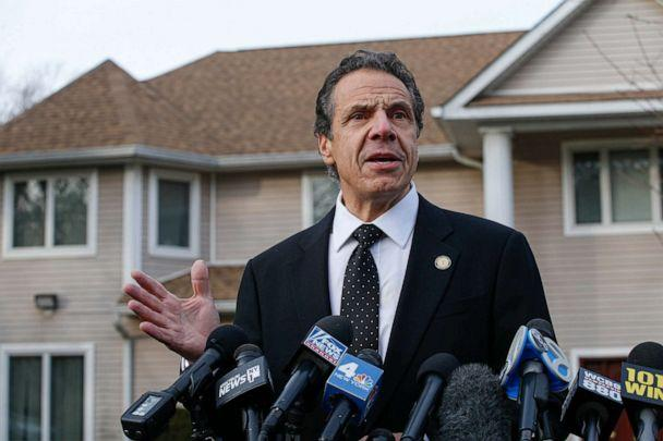 PHOTO: New York Governor Andrew Cuomo speaks to the media outside the home of rabbi Chaim Rottenbergin in Monsey, N.Y., Dec. 29, 2019. (Kena Betancur/AFP/Getty Images)