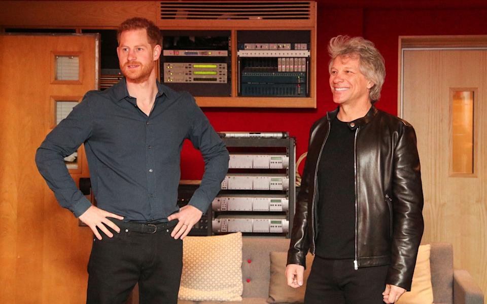 Harry and Bon Jovi in the studio (Photo: HANNAH MCKAY via Getty Images)