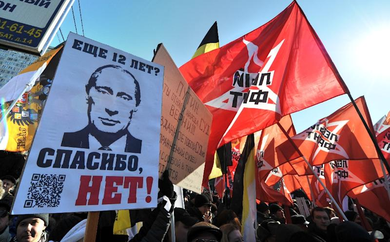 Opposition activists take part in anti-Putin rally in the central Arbat area in Moscow, on March 10, 2012 (AFP Photo/Yuri Kadobnov)