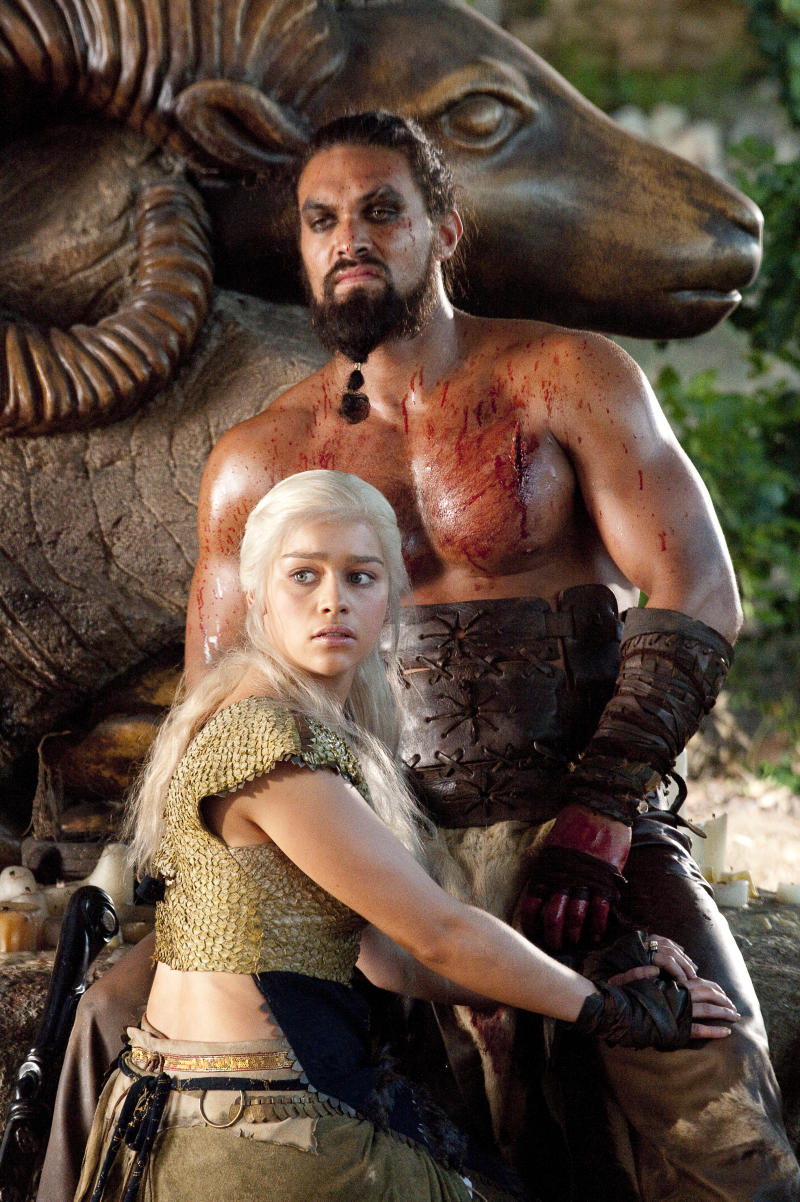 Emilia Clarke as Daenerys, and Jason Momoa as Khal Drogo in Game of Thrones (HBO)