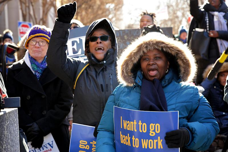 WASHINGTON, DC - JANUARY 10: Hundreds of federal workers and contractors rally against the partial federal government shutdown outside the headquarters of the AFL-CIO January 10, 2019 in Washington, DC. As the second-longest government shut down continues, Democrats and Republicans have not found a compromise for border security funding and President Donald Trump's proposed wall on the U.S.-Mexico border. (Photo by Chip Somodevilla/Getty Images)