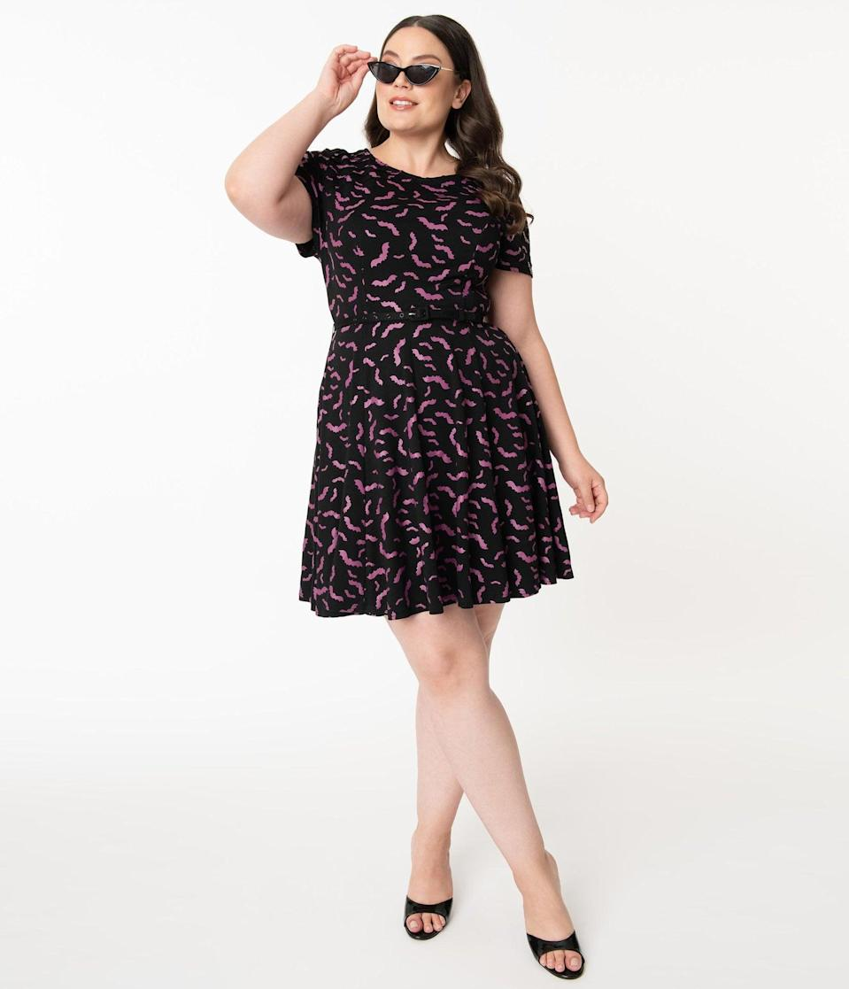 <p>It's hard to not go batty over this <span>Unique Vintage Plus Size Black and Purple Bats Short Sleeve Stephanie Flare Dress</span> ($88).</p>