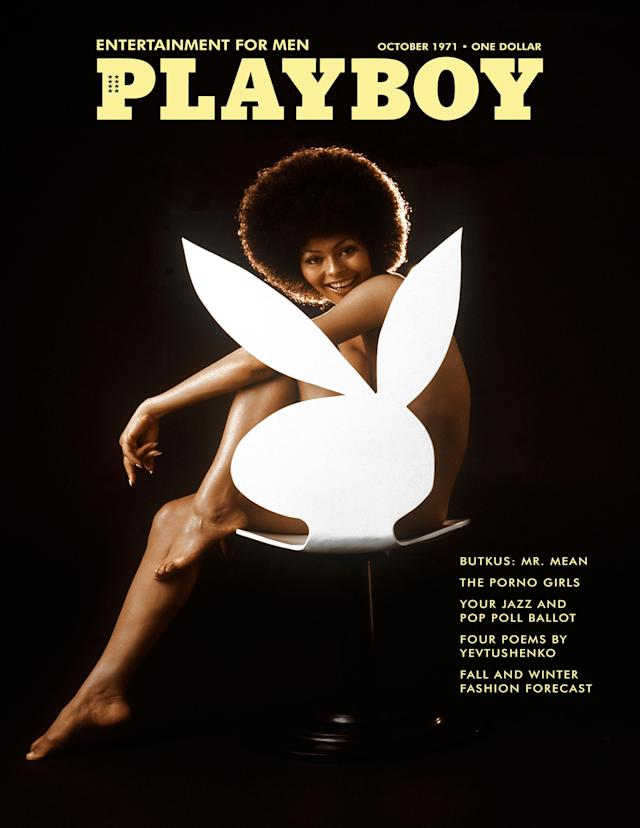<p>Say what you will about <em>Playboy</em>, but the magazine did help to push the industry forward. Darine Stern became the first woman of color to be featured on the magazine's cover, and this happened in 1971.<br>(Photo: Playboy) </p>
