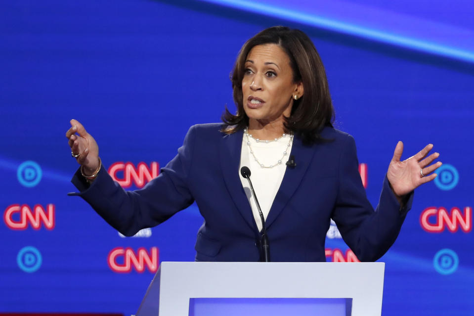 Democratic presidential candidate Sen. Kamala Harris, D-Calif., speaks in a Democratic presidential primary debate hosted by CNN/New York Times at Otterbein University, Tuesday, Oct. 15, 2019, in Westerville, Ohio. (AP Photo/John Minchillo)